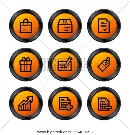 Shopping icons, orange circle series