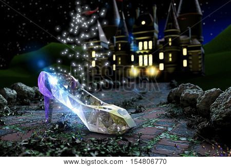 3D illustration of crystal shoe on the road with castle on background at night
