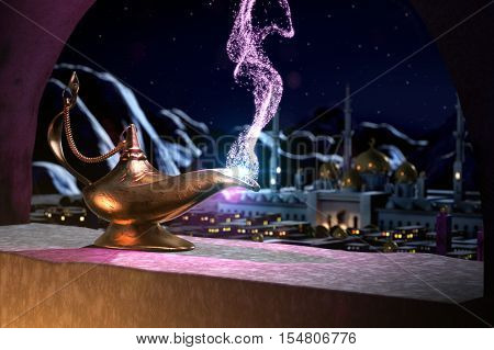 3D illustration of Magic lamp with panoramic view of sultan's palace