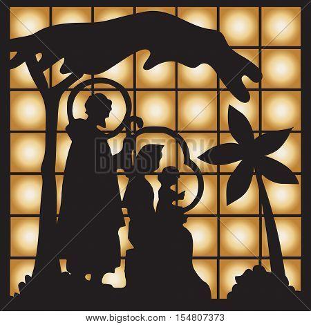 Nativity scene with Jesus Mary Joseph silhouette.