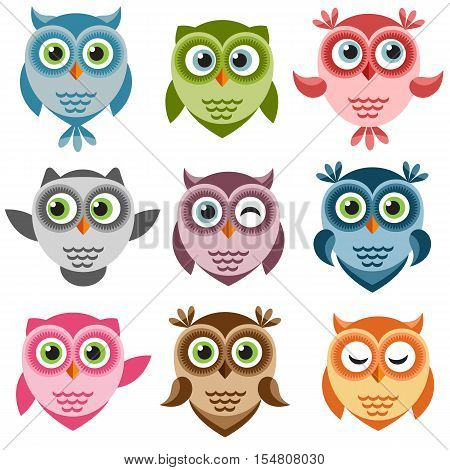 Set of cute colorful cartoon owlets and owls