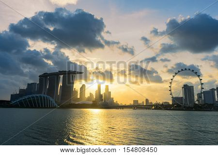 Sunset Scene Of The Singapore Landmark Financial District