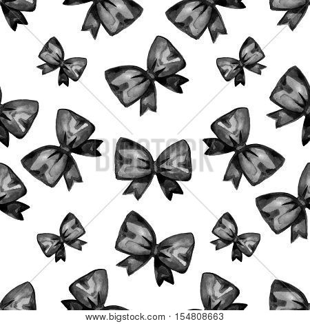 Black Friday Watercolor bow seamless pattern. Poster Sale. Typography.
