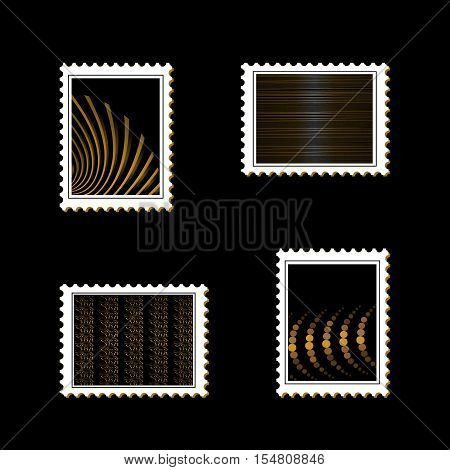 Vector striped stamps on black background - illustration