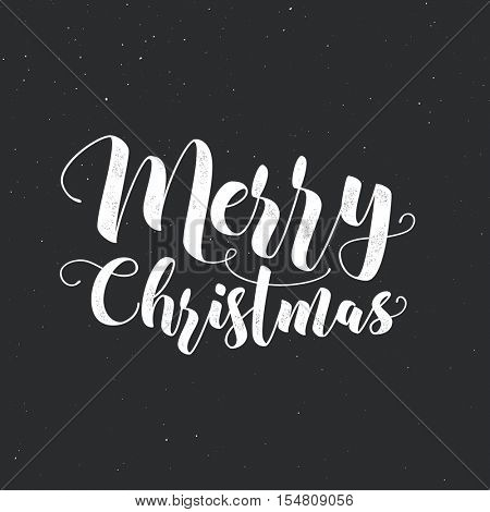 Merry Christmas modern calligraphy lettering. Vector illustration for greeting cards, posters, banners. Letterpress effect, grunge background.