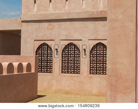 Typical Oman Sultanate's Architecture: Windows brown Detail