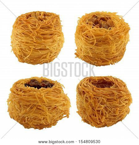 Set oriental baked sweets isolated on white