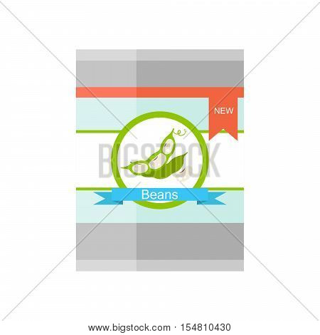 Tin vector illustration with kidney beans on label.