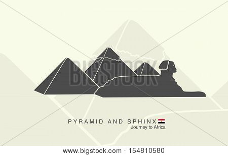 shapes of the pyramids of Giza and the Sphinx