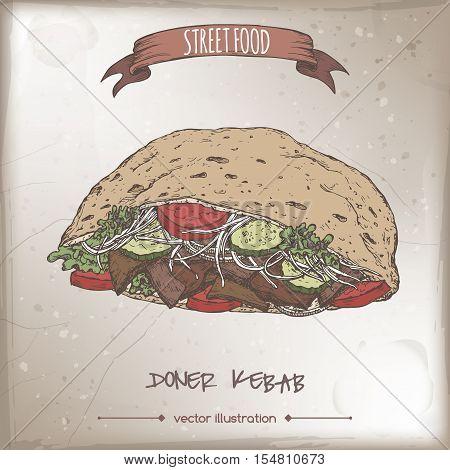 Doner kebab color sketch on grunge background. Turkish cuisine. Street food series. Great for market, restaurant, cafe, food label design.