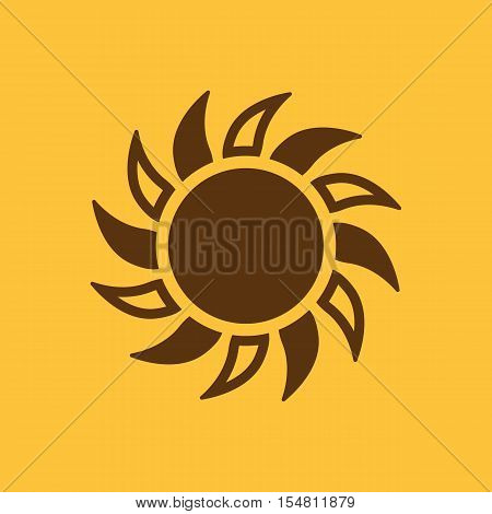 The sun icon. Sunrise and sunshine, weather, sun symbol. UI. Web. Logo. Sign. Flat design. App. Stock vector