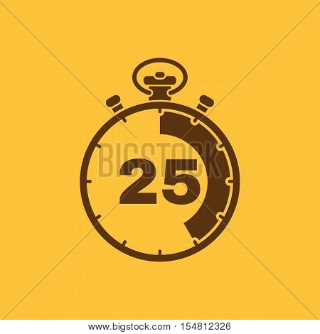 The 25 seconds, minutes stopwatch icon. Clock and watch, timer, countdown, stopwatch symbol. UI. Web. Logo. Sign. Flat design. App. Stock vector