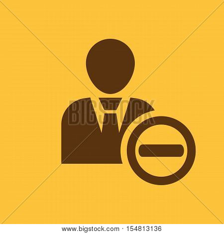 The delete user icon. Delete a user friend and avatar symbol. UI. Web. Logo. Sign. Flat design. App. Stock vector