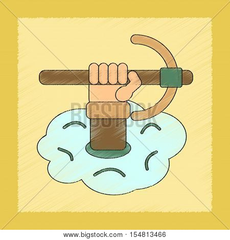 flat shading style icon of hammer in hand avalanche