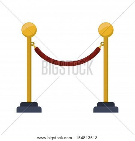barrier rope icon over white background. cinema fence. vector illustration