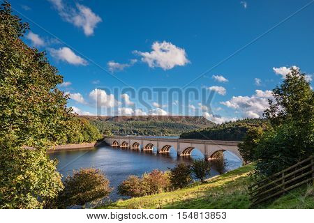 Ashopton Viaduct above Ladybower Reservoir, which are situated in the Upper Derwent Valley at the heart of the Peak District National Park