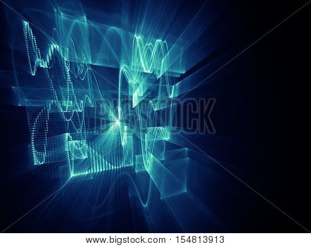 Abstract background element. Three-dimensional composition of wave shapes, grids and beams. Electronics and media concept. Blue and black colors.