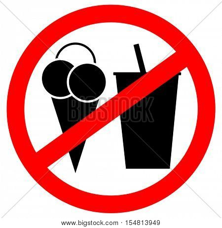 Prohibition sign icon. No eating and no drinks allowed isolated on white background.
