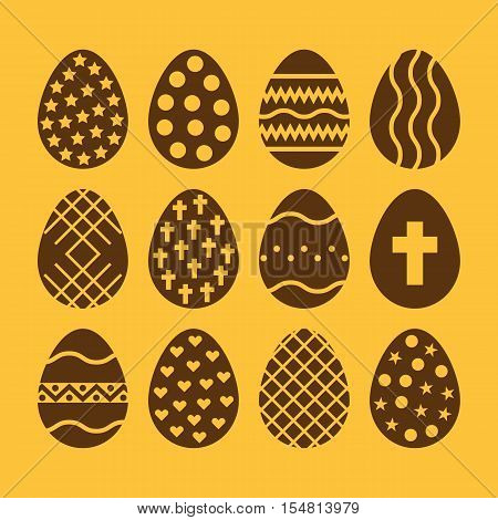 The egg and easter 12 icon. Easter, egg symbol. UI. Web. Logo. Sign. Flat design. App. Stock vector