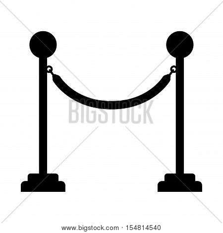 silhouette of barrier rope icon over white background. cinema fence. vector illustration