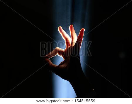 Hand Gesture In Spotlight