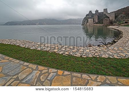 Golubac Fortress was a medieval fortified town on the south side of the Danube River 4 km downstream from the modern-day town of Golubac Serbia. Most likely built during the 14th century.