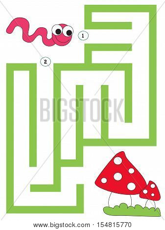 illustration of easy maze for little children
