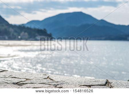 Selective focus. Itsukushima shrine Miyajima island Japan