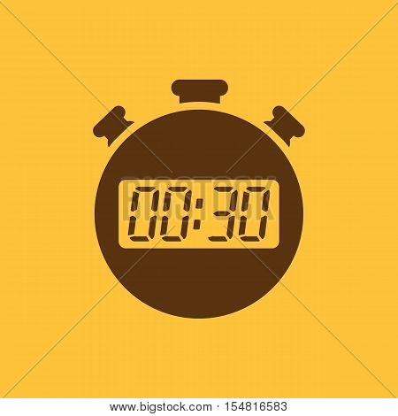 The 30 seconds, minutes stopwatch icon. Clock and watch, timer, countdown, stopwatch symbol. UI. Web. Logo. Sign. Flat design. App. Stock vector