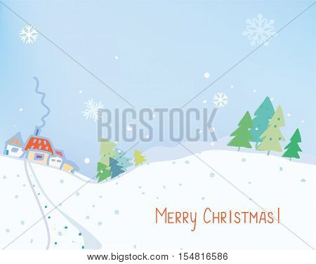 Christmas card or banner with countryside landscape - vector graphic illustration
