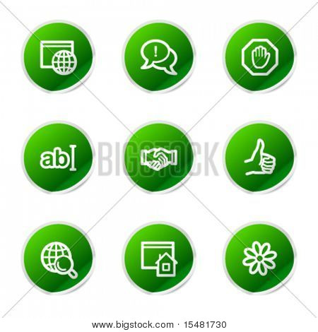 Internet communication web icons, green sticker series