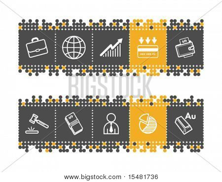 Business web icons on grey and orange dots bar. Vector file has layers, all icons in two versions are included.