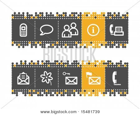 Communication web icons on grey and orange dots bar. Vector file has layers, all icons in two versions are included.