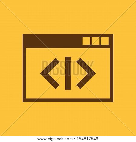 The coding icon. WWW and browser, development, seo, coding symbol. UI. Web. Logo. Sign. Flat design. App. Stock vector
