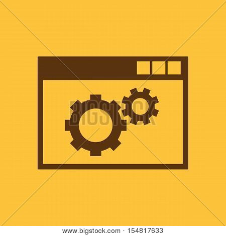 The website optimization icon. WWW and browser, development, seo, website optimization symbol. UI. Web. Logo. Sign. Flat design. App. Stock vector
