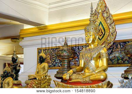 Bangkok, Thailand - December 9, 2015: Ornate golden Buddha in public temple Wat Saket as known as Golden Mount Bangkok Thailand