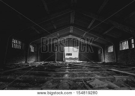 Black and white - old abandoned lumber mill, wide angle