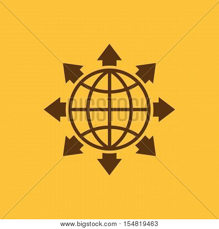 The global solution icon. WWW and browser, development, search, SEO, global solution symbol. UI. Web. Logo. Sign. Flat design. App. Stock vector