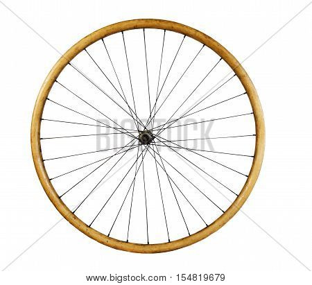 Old wooden Bicycle wheel on a white background