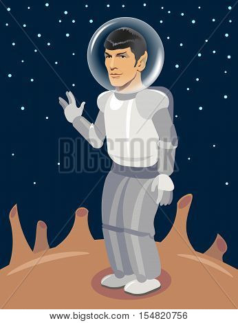 Spock Spaceman on Unexplored Planet. Star Trek