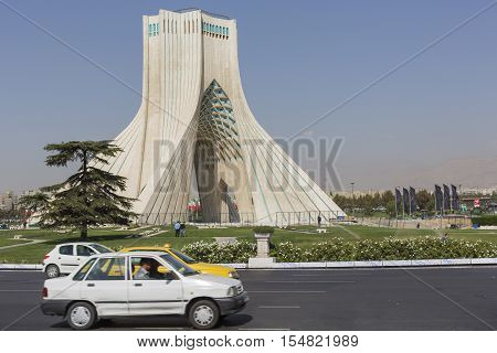 Teheran, Iran - October 03, 2016: Azadi Tower Located At Azadi Square In Teheran City, Iran.