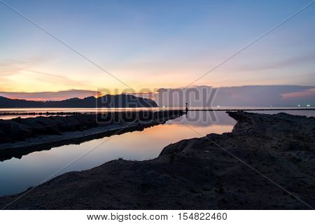 Sunset And Beach With Light The Fisherman And Background
