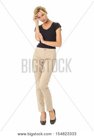 Blond Fashion Model Girl Stand In Beige Trousers Isolated