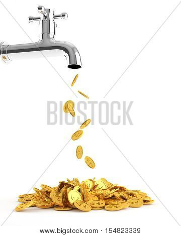 Gold coins dripping tap, Money coins out of the tap. 3D illustration