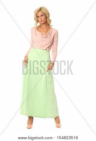 Bright Positive Studio Portrait Of Woman In Maxi Skirt
