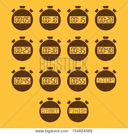 The stopwatch icon, set of 14 icons. Clock and watch, timer, countdown, stopwatch symbol. UI. Web. Logo. Sign. Flat design. App. Stock vector