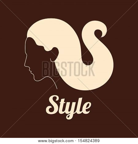 Creative woman profile with curved hair vector logo design. Character logotype symbols. Logo icon design