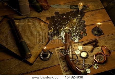 3D illustration of Pirate's accessories on a table