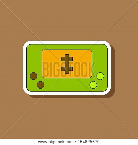 paper sticker on stylish background of Kids toy console