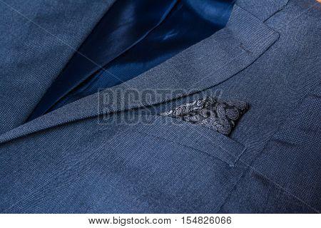Blazer Closeup Texture Detail Textile Blue Tuxedo Suit Professional Handsome
